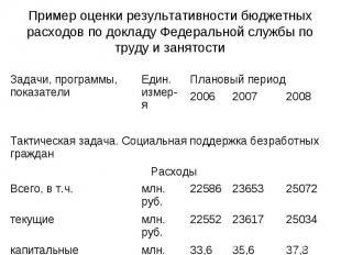Пример оценки результативности бюджетных расходов по докладу Федеральной службы