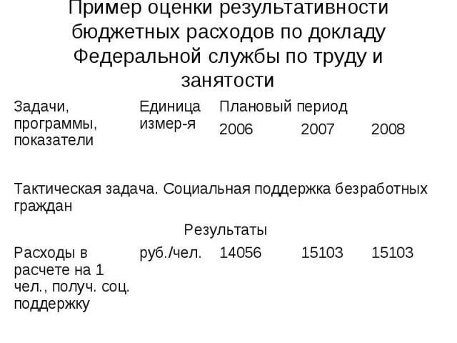 Пример оценки результативности бюджетных расходов по докладу Федеральной службы по труду и занятости