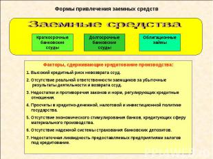 Формы привлечения заемных средств Факторы, сдерживающие кредитование производств