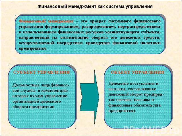 Финансовый менеджмент как система управления Финансовый менеджмент – это процесс системного финансового управления формированием, распределением, перераспределением и использованием финансовых ресурсов хозяйствующего субъекта, направленный на оптими…