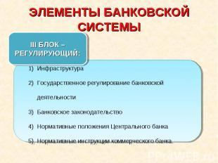 ЭЛЕМЕНТЫ БАНКОВСКОЙ СИСТЕМЫ III БЛОК – РЕГУЛИРУЮЩИЙ:ИнфраструктураГосударственно