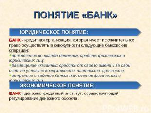 ПОНЯТИЕ «БАНК» ЮРИДИЧЕСКОЕ ПОНЯТИЕ:БАНК - кредитная организация, которая имеет и