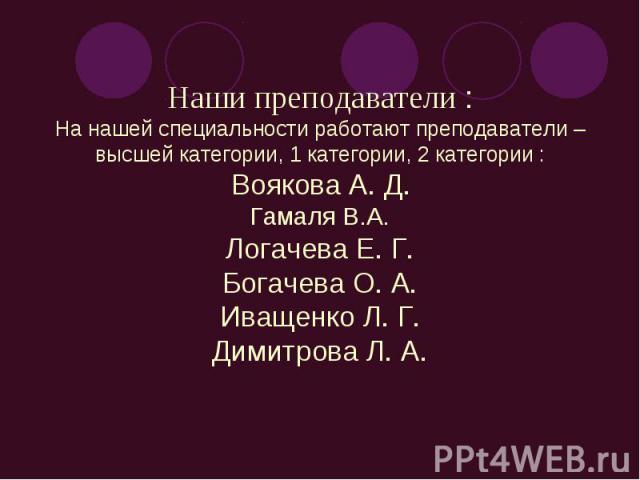 Наши преподаватели :На нашей специальности работают преподаватели – высшей категории, 1 категории, 2 категории :Воякова А. Д.Гамаля В.А.Логачева Е. Г.Богачева О. А.Иващенко Л. Г.Димитрова Л. А.