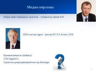 Медиа-персоны Общая инвестиционная стратегия – губернатор Денин Н.В.АПК-кластер