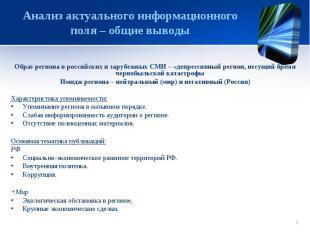 Анализ актуального информационного поля – общие выводы Образ региона в российски