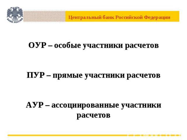 ОУР – особые участники расчетовПУР – прямые участники расчетовАУР – ассоциированные участники расчетов
