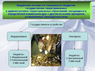Бюджетная система-это совокупность бюджетов государственно-территориальных и адм