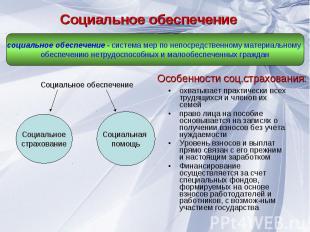 Социальное обеспечение социальное обеспечение - система мер по непосредственному