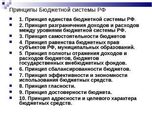Принципы Бюджетной системы РФ 1. Принцип единства бюджетной системы РФ.2. Принци