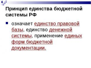 Принцип единства бюджетной системы РФ означает единство правовой базы, единство