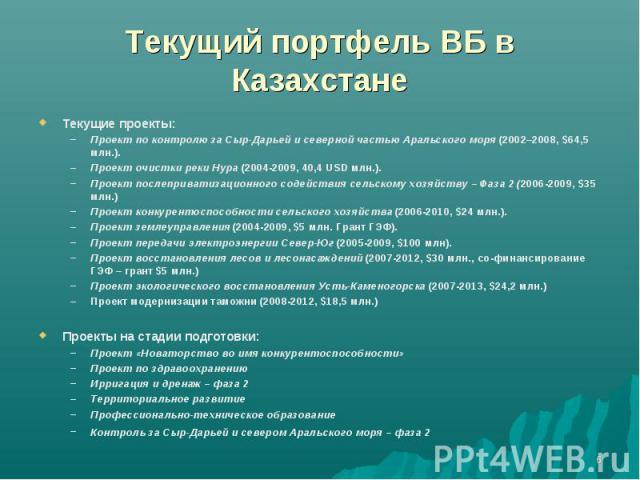 Текущий портфель ВБ в Казахстане Текущие проекты:Проект по контролю за Сыр-Дарьей и северной частью Аральского моря (2002–2008, $64,5 млн.). Проект очистки реки Нура (2004-2009, 40,4 USD млн.).Проект послеприватизационного содействия сельскому хозяй…