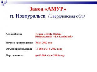 Завод «АМУР» п. Новоуральск /Свердловская обл./ Автомобили: Седан «Geely Otaka»