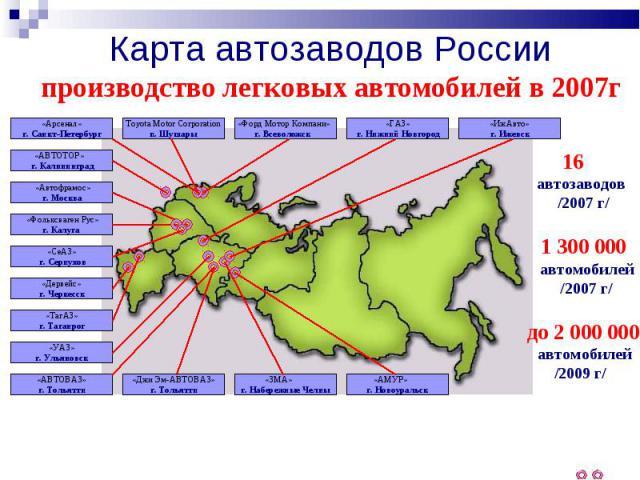 Карта автозаводов Россиипроизводство легковых автомобилей в 2007г