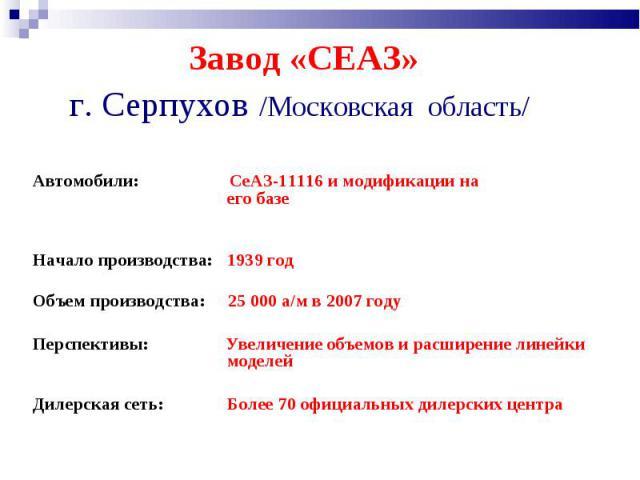 Завод «СЕАЗ» г. Серпухов /Московская область/ Автомобили: СеАЗ-11116 и модификации на его базеНачало производства: 1939год Объем производства: 25 000 а/м в 2007 году Перспективы: Увеличение объемов и расширение линейки моделейДилерская сеть: Более …