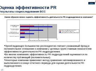 Оценка эффективности PR Результаты социсследования ВСС Преобладающее большинство