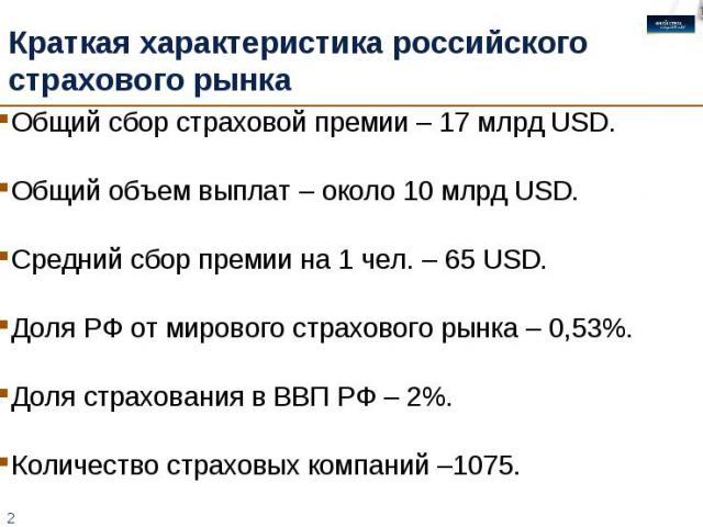 Краткая характеристика российского страхового рынка Общий сбор страховой премии – 17 млрд USD.Общий объем выплат – около 10 млрд USD.Средний сбор премии на 1 чел. – 65 USD. Доля РФ от мирового страхового рынка – 0,53%.Доля страхования в ВВП РФ – 2%.…