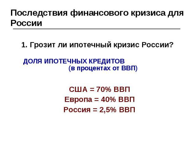 Последствия финансового кризиса для России 1. Грозит ли ипотечный кризис России?ДОЛЯ ИПОТЕЧНЫХ КРЕДИТОВ (в процентах от ВВП)США = 70% ВВПЕвропа = 40% ВВПРоссия = 2,5% ВВП