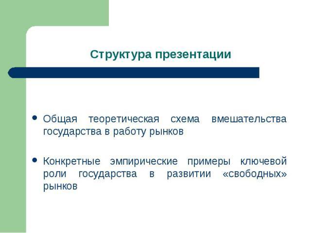 Структура презентации Общая теоретическая схема вмешательства государства в работу рынковКонкретные эмпирические примеры ключевой роли государства в развитии «свободных» рынков