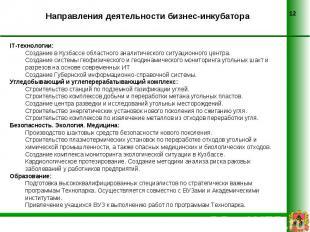 Направления деятельности бизнес-инкубатора IT-технологии:Создание в Кузбассе обл