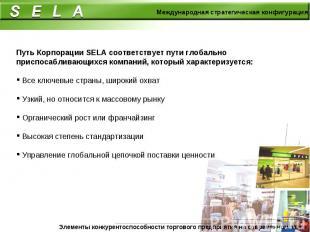 Путь Корпорации SELA соответствует пути глобально приспосабливающихся компаний,