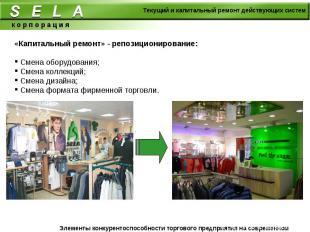 «Капитальный ремонт» - репозиционирование: Смена оборудования; Смена коллекций;