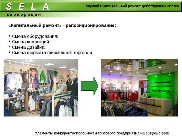 «Капитальный ремонт» - репозиционирование: Смена оборудования; Смена коллекций; Смена дизайна; Смена формата фирменной торговли.