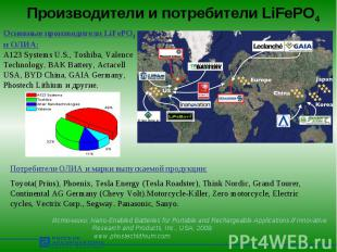 Производители и потребители LiFePO4 Основные производители LiFePO4 и ОЛИА: A123