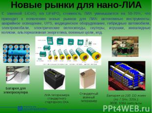 Новые рынки для нано-ЛИА С заменой LiCoO2 на LiFePO4 стоимость ЛИА уменьшается н