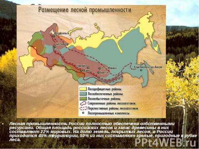Лесная промышленность России полностью обеспечена собственными ресурсами. Общая площадь российских лесов и запас древесины в них составляют 22% мировых. На долю земель, покрытых лесом, в России приходится 45% территории, 50% из них составляют зрелые…
