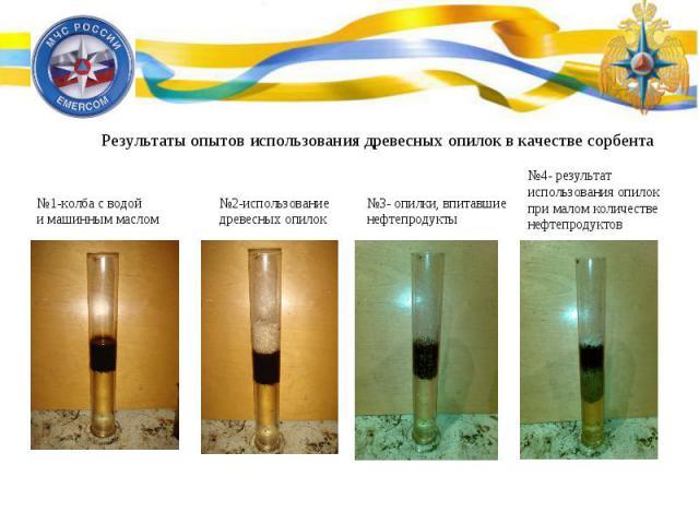 Результаты опытов использования древесных опилок в качестве сорбента