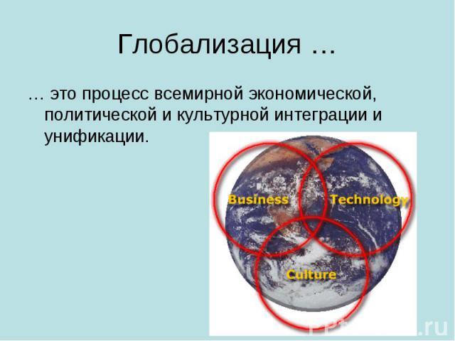 Глобализация … … это процесс всемирной экономической, политической и культурной интеграции и унификации.