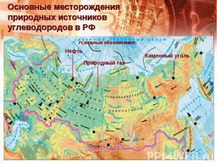 Основные месторождения природных источников углеводородов в РФ