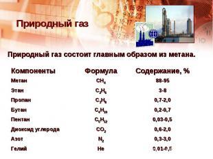 Природный газ Природный газ состоит главным образом из метана.