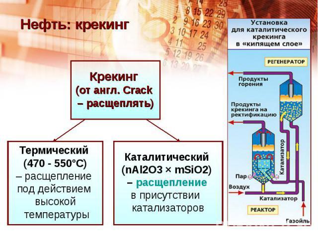 Нефть: крекингКрекинг (от англ. Crack – расщеплять)Термический (470 - 550°С)– расщепление под действием высокой температуры Каталитический (nAl2O3 × mSiO2) – расщепление в присутствии катализаторов