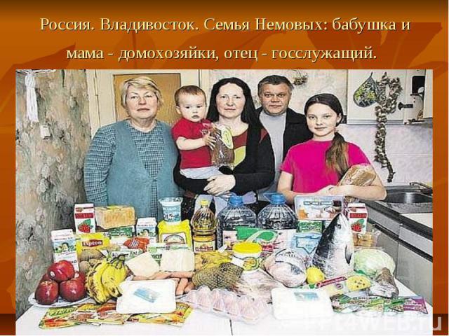 Россия. Владивосток. Семья Немовых: бабушка и мама - домохозяйки, отец - госслужащий.