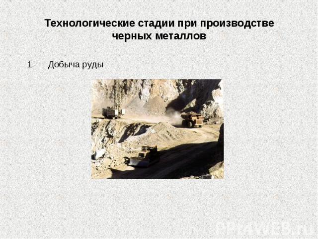 Технологические стадии при производстве черных металлов Добыча руды