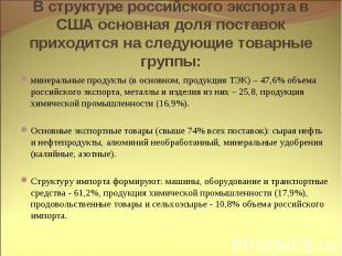 В структуре российского экспорта в США основная доля поставок приходится на след