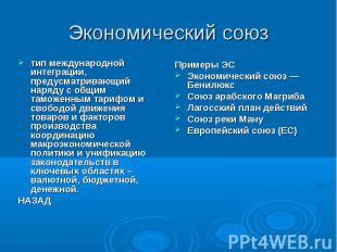 Экономический союз тип международной интеграции, предусматривающий наряду с общи
