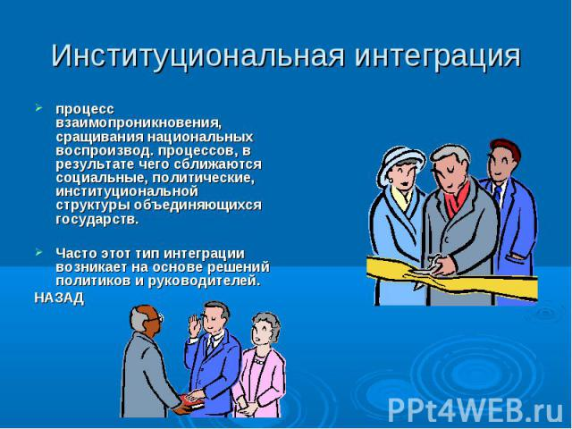 Институциональная интеграция процесс взаимопроникновения, сращивания национальных воспроизвод. процессов, в результате чего сближаются социальные, политические, институциональной структуры объединяющихся государств. Часто этот тип интеграции возника…