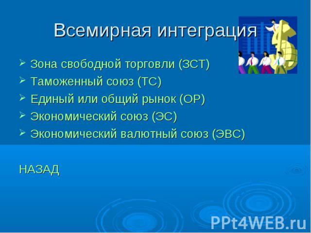 Всемирная интеграция Зона свободной торговли (ЗСТ)Таможенный союз (ТС)Единый или общий рынок (ОР)Экономический союз (ЭС)Экономический валютный союз (ЭВС)НАЗАД