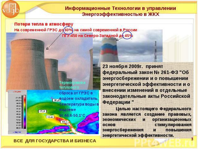 Информационные Технологии в управлении Энергоэффективностью в ЖКХ 23 ноября 2009г. принят федеральный закон № 261-ФЗ