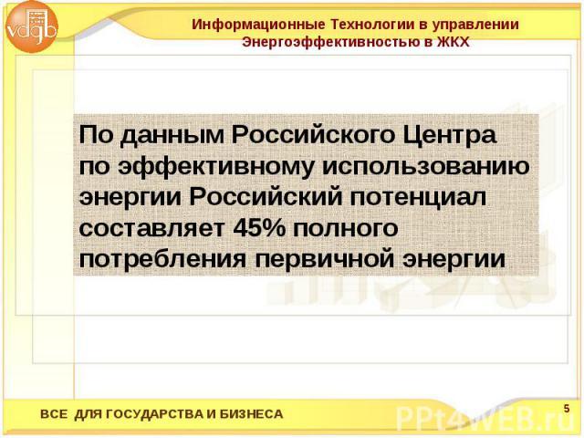 Информационные Технологии в управлении Энергоэффективностью в ЖКХПо данным Российского Центра по эффективному использованию энергии Российский потенциал составляет 45% полного потребления первичной энергии