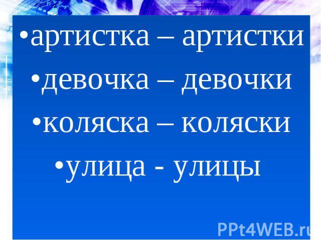 артистка – артисткидевочка – девочкиколяска – коляскиулица - улицы
