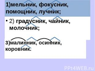 1)мельник, фокусник, помощник, лучник; 2) градусник, чайник, молочник;3)малинник