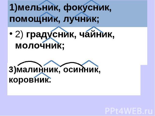 1)мельник, фокусник, помощник, лучник; 2) градусник, чайник, молочник;3)малинник, осинник, коровник.