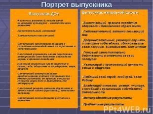 Портрет выпускника Выпускник ДОУФизически развитый, овладевший основными культур