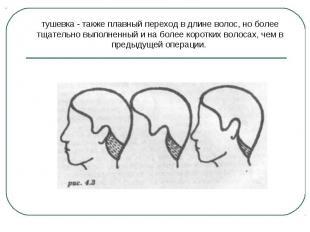 тушевка - также плавный переход в длине волос, но более тщательно выполненный и