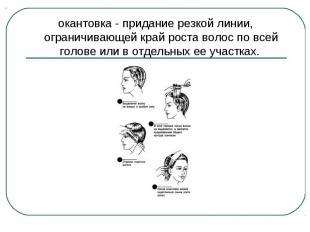 окантовка - придание резкой линии, ограничивающей край роста волос по всей голов