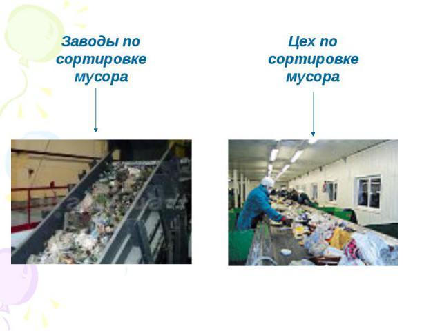 Заводы по сортировке мусораЦех по сортировке мусора