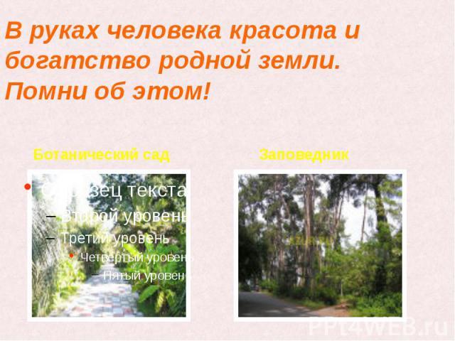 В руках человека красота и богатство родной земли. Помни об этом! Ботанический сад Заповедник